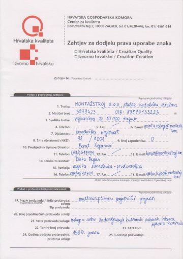 PRIJAVNICA HGK: IZVORNO HRVATSKO